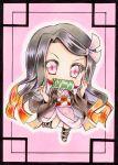 1girl bamboo bit_gag black_hair blush chibi commentary_request gag gagged gradient_hair graphite_(medium) hair_ribbon highres japanese_clothes kamado_nezuko kimetsu_no_yaiba kimono long_hair looking_at_viewer marker_(medium) multicolored_hair nekofish666 obi pink_background pink_kimono pink_ribbon red_eyes redhead ribbon sash solo traditional_media very_long_hair