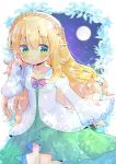 1girl bangs blonde_hair blush bow braid breasts brooch closed_mouth collarbone commentary_request commission crown_braid dress eyebrows_visible_through_hair full_moon green_dress green_eyes hair_between_eyes hand_up jewelry kouu_hiyoyo long_hair long_sleeves looking_at_viewer moon original pointy_ears red_bow sky sleeves_past_wrists small_breasts smile solo star_(sky) starry_sky very_long_hair white_dress wide_sleeves