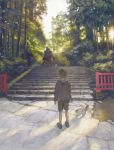 2boys animal ball cat commentary crossed_arms day facing_away forest head_bump highres hood hoodie monster_boy multiple_boys nature original outdoors scenery soccer_ball stairs tengu winged_arms youkai zhuzi