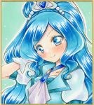 1girl adjusting_hair bangs blue_dress blue_eyes blue_hair blush collarbone commentary_request cure_fontaine dress eyebrows_visible_through_hair gloves graphite_(medium) healin'_good_precure highres long_hair looking_at_viewer marker_(medium) nekofish666 portrait precure puffy_sleeves shiny shiny_hair smile solo swept_bangs tiara traditional_media wavy_hair white_gloves