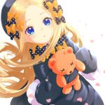 1girl abigail_williams_(fate/grand_order) bangs black_bow black_dress black_headwear blonde_hair blue_eyes blush bow breasts dress fate/grand_order fate_(series) forehead hair_bow hat highres hitoribotti long_hair looking_at_viewer multiple_bows open_mouth orange_bow parted_bangs petals polka_dot polka_dot_bow ribbed_dress simple_background sleeves_past_fingers sleeves_past_wrists small_breasts stuffed_animal stuffed_toy teddy_bear white_background