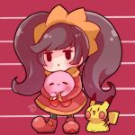 1girl =_= ashley_(warioware) black_hair chibi commentary_request dated_commentary dress gen_1_pokemon herunia_kokuoji holding kirby kirby_(series) long_hair long_twintails looking_at_another looking_up nintendo open_mouth pikachu pokemon pokemon_(creature) sleeves_past_wrists smile standing striped striped_background trangle_mouth twintails very_long_hair warioware |_|