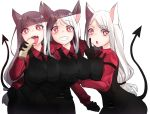 3girls absurdres animal_ears arm_around_shoulder arm_strap belt black_belt black_gloves black_neckwear black_pants black_vest breast_lift breasts cerberus_(helltaker) collared_shirt demon_girl demon_tail dog_ears dog_girl dress_shirt error eyebrows_visible_through_hair fang food gloves grin hand_on_another's_hip heart heart-shaped_pupils helltaker highres large_breasts long_hair long_sleeves looking_at_viewer low-tied_long_hair minggoo multiple_girls necktie open_mouth pancake pants red_eyes red_shirt shirt simple_background smile symbol-shaped_pupils tail tongue tongue_out triplets v very_long_hair vest white_background white_hair