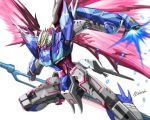 destiny_gundam energy_wings from_side glowing glowing_hand green_eyes gundam gundam_seed gundam_seed_destiny highres holding holding_sword holding_weapon kenko_(a143016) looking_down mecha mechanical_wings open_hand redesign solo sword weapon white_background wings