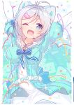1girl absurdres arms_up bangs blue_eyes breasts confetti dated dennou_shoujo_youtuber_siro dress eyebrows_visible_through_hair highres medium_breasts nijihashi_sora one_eye_closed open_mouth page_number ribbon shiny shiny_hair simple_background siro_(dennou_shoujo_youtuber_siro) smile sparkle virtual_youtuber white_hair