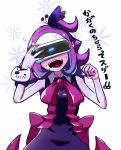 blush bow demon_girl dress fangs floral_background head_mounted_display highres musume playstation_vr purple_dress purple_nails sleeveless smile sparkle sweat sweatdrop v_yuusha_no_kuse_ni_namaiki_da_r yuusha_no_kuse_ni_namaiki_da yuzumikan121