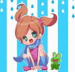 1girl :3 ana_(warioware) commentary_request dated_commentary eye_contact frog green_eyes heart heart_in_mouth herunia_kokuoji looking_at_another ninja open_mouth orange_hair scarf short_twintails smile squatting striped striped_background twintails warioware