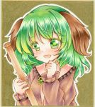 1girl animal_ears bangs blush broom brown_shirt commentary_request dog_ears eyebrows_visible_through_hair graphite_(medium) green_eyes green_hair hair_between_eyes highres holding holding_broom kasodani_kyouko long_hair long_sleeves looking_at_viewer marker_(medium) nekofish666 open_mouth portrait shirt sidelocks solo touhou traditional_media