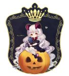 1girl absurdly_long_hair ayu_(mog) black_dress black_footwear boots bow bowtie bright_pupils brown_eyes closed_mouth demon_horns dress english_text grey_hair happy_halloween heart holding horns jack-o'-lantern long_hair looking_at_viewer original puffy_short_sleeves puffy_sleeves pumpkin red_neckwear short_sleeves simple_background sitting solo thigh-highs very_long_hair white_background white_legwear white_pupils wrist_bow