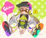 1girl artist_name baseball_cap copyright_name domino_mask eighth_note green_hair hat inkling interlocked_fingers kippu long_sleeves mask musical_note paint_splatter school_uniform serafuku signature sitting splatoon_(series) splatoon_1 spoken_musical_note squid tentacle_hair yellow_eyes