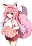 1girl animal_ear_fluff animal_ears armpit_crease azur_lane bangs bare_legs bare_shoulders blush breasts cheerleader collarbone commentary_request cowboy_shot crop_top elbow_gloves eyebrows_visible_through_hair flower fox_ears fox_girl fox_tail gloves gradient_hair green_eyes hair_between_eyes hair_flower hair_ornament hair_ribbon hanazuki_(azur_lane) hestia_(neko_itachi) hip_vent holding holding_pom_poms japanese_clothes kimono long_hair looking_at_viewer medium_breasts midriff miniskirt multicolored_hair outline pink_hair pink_ribbon pink_skirt pom_poms ribbon sidelocks simple_background skirt sleeveless sleeveless_kimono smile solo standing tail taut_clothes white_background white_gloves white_kimono