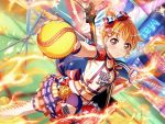 bang_dream! baseball blush jersey kitazawa_hagumi orange_hair red_eyes short_hair sports