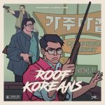 3boys artist_request black_hair cigarette dress_shirt english_text glasses gun handgun jacket korean_text movie_poster multiple_boys original pistol rifle rooftop_koreans scowl shirt shotgun shouting signature smoking vest weapon