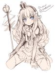 1girl azur_lane bangs blue_eyes blush bow character_name closed_mouth crown dress eyebrows_visible_through_hair full_body gloves hair_bow highres kippu long_hair mini_crown queen_elizabeth_(azur_lane) scepter signature simple_background sitting sketch smile solo thigh-highs wariza white_background