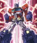 autobot blue_eyes clenched_hands electricity energy glowing glowing_eyes looking_to_the_side mecha no_humans optimus_prime solo transformers yasukuni_kazumasa