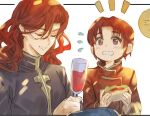 2boys alcohol alvis_(fire_emblem) azelle_(fire_emblem) blush bomssp brothers closed_eyes cup drinking_glass fire_emblem fire_emblem:_genealogy_of_the_holy_war food holding long_hair male_focus multiple_boys red_eyes redhead siblings simple_background smile white_background wine wine_glass