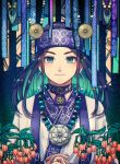 1girl ainu ainu_clothes aqua_eyes araiguma_(gomipanda123) asirpa bandana black_hair blue_bandana blue_eyes closed_mouth commentary_request ear_piercing earrings facing_viewer golden_kamuy hands_together highres hoop_earrings jewelry long_hair looking_at_viewer necklace piercing sidelocks simple_background smile upper_body