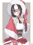1girl ;p arm_warmers azur_lane bangs belt black_hair black_ribbon blue_eyes blush border breasts brown_border brown_corset capelet commentary_request cowboy_shot dress eskimo_(azur_lane) eyebrows_visible_through_hair fur-trimmed_capelet fur_trim glasses gloves grey_background hanamizuki_yuuki hand_up highres looking_at_viewer medium_breasts multicolored_hair neck_ribbon one_eye_closed red_capelet red_dress red_gloves ribbon round_eyewear short_hair sidelocks simple_background smile solo standing thumbs_up tongue tongue_out two-tone_dress two-tone_hair white_background white_belt white_hair