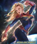 1girl abs avenger blonde_hair blue_eyes bodysuit breasts captain_marvel carol_danvers cowboy_shot female_focus judash137 long_hair looking_at_viewer marvel navel open_mouth skin_tight solo space