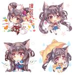 1girl animal_ear_fluff animal_ears blue_capelet blue_shirt blue_skirt blush bow bowtie brown_eyes brown_hair capelet cat_ears cat_girl cat_tail chibi commentary_request eyebrows_visible_through_hair hair_between_eyes highres holding holding_umbrella jacket japanese_clothes kimono long_hair looking_at_viewer mouse nekofish666 open_clothes open_jacket open_mouth original outstretched_arm plaid plaid_skirt pleated_skirt raincoat red_neckwear shirt skirt snow_bunny tail twintails umbrella white_legwear white_shirt