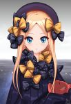 1girl abigail_williams_(fate/grand_order) absurdres bangs black_bow black_dress black_headwear blonde_hair blue_eyes bow breasts closed_mouth dress fate/grand_order fate_(series) forehead frosver hair_bow hat highres long_hair multiple_bows orange_bow parted_bangs polka_dot polka_dot_bow ribbed_dress sleeves_past_fingers sleeves_past_wrists small_breasts smile stuffed_animal stuffed_toy teddy_bear