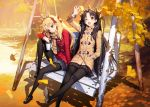 2girls autumn bench black_hair black_legwear blonde_hair bow chain ereshkigal_(fate/grand_order) fate/grand_order fate_(series) full_body hair_bow holding holding_leaf ishtar_(fate)_(all) ishtar_(fate/grand_order) knee_up leaf long_hair long_sleeves looking_at_viewer mandrill multiple_girls one_eye_closed pantyhose plaid plaid_scarf pleated_skirt red_eyes scarf shadow shoes sitting skirt swing tree