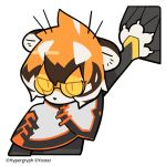 1girl animal_ears arknights bangs black_hair capelet chalkboard chibi claws commentary_request company_name cropped_torso furry glasses line_(naver) multicolored_hair nail official_art orange_eyes orange_hair scratching semi-rimless_eyewear short_hair simple_background solo streaked_hair tail tiger_ears tiger_girl tiger_tail tinted_eyewear under-rim_eyewear waai_fu_(arknights) watermark white_background white_hair