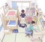 1boy 1girl bag bed book bookshelf box brown_hair bunk_bed cardboard_box chair commentary_request curtains desk eraser from_above gen_1_pokemon glasses heart holding holding_pencil indoors kiyo_(kyokyo1220) office_chair original panties pencil pikachu pillow pleated_skirt poster_(object) school_uniform serafuku short_hair sitting skirt skirt_removed sliding_doors socks standing studying stuffed_animal stuffed_toy tatami tissue_box underwear undressing white_legwear white_panties window
