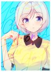 1girl absurdres artist_name bangs blue_eyes dated dennou_shoujo_youtuber_siro eyebrows_visible_through_hair hand_up highres looking_at_viewer nijihashi_sora page_number parted_lips short_sleeves signature simple_background siro_(dennou_shoujo_youtuber_siro) upper_body virtual_youtuber white_hair