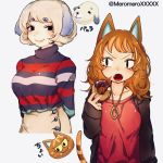 2girls animal_ears bangs black_eyes black_jacket blonde_hair breasts cat_ears cat_girl cat_tail character_name choi_(doubutsu_no_mori) closed_mouth dog_ears doubutsu_no_mori doughnut dual_persona extra_ears eyebrows_visible_through_hair fangs fingernails floppy_ears food hand_up high-waist_skirt holding holding_food jacket jewelry lips long_hair long_sleeves looking_at_viewer medium_breasts multicolored_hair multiple_girls necklace open_clothes open_jacket open_mouth orange_hair personification pink_lips red_shirt shirt short_hair simple_background skirt sleeves_past_wrists smile sprinkles streaked_hair striped striped_shirt striped_tail tail tail_raised turtleneck twitter_username two-tone_hair umikinoko_(umitake) v-shaped_eyebrows vanilla_(doubutsu_no_mori) white_background