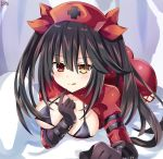 1girl all_fours bangs black_bra black_gloves black_hair blush bra commentary_request date_a_live dress eyebrows_visible_through_hair finger_to_mouth gloves hair_between_eyes hat heterochromia highres lewdkuma looking_at_viewer nurse nurse_cap orange_eyes red_dress red_eyes red_headwear sidelocks signature solo tokisaki_kurumi tongue tongue_out twintails underwear