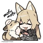 1girl :3 :d =_= animal_ears arknights bangs black_bow bow bracelet breeze_(arknights) brown_hair chibi commentary_request company_name fox fox_ears fox_girl hair_between_eyes jewelry line_(naver) long_hair open_mouth petting sidelocks simple_background smile sound_effects striped striped_bow watermark white_background