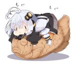 1girl :t antenna_hair bangs black_jacket braid chibi closed_mouth commentary_request eating food food_on_face hair_between_eyes hair_ornament headphones headset highres jacket kizuna_akari long_hair long_sleeves lying milkpanda minigirl on_stomach orange_legwear pantyhose puffy_cheeks puffy_long_sleeves puffy_sleeves shadow silver_hair solid_oval_eyes solo star_(symbol) striped striped_legwear sweat taiyaki twin_braids twintails vertical-striped_legwear vertical_stripes very_long_hair voiceroid wagashi wavy_mouth white_background
