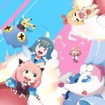 4girls :d :o absurdres ahoge akaza_akari alternate_hairstyle ania_(spy_x_family) annaka_haruna arm_up black_dress blazer blonde_hair blue_background blue_hair blue_pants blue_sailor_collar blush bow chinchou closed_eyes commentary_request cosmog crossover dress eyebrows_visible_through_hair flying gen_1_pokemon gen_2_pokemon gen_7_pokemon hair_bow hairband highres jacket legendary_pokemon looking_at_another mochamillll multiple_crossover multiple_girls nanamori_school_uniform neckerchief nichijou open_mouth pants pikachu pink_background pink_hair pleated_dress pokemon pokemon_(creature) pokemon_(game) pokemon_sm primarina red_bow red_dress red_neckwear red_skirt redhead ribbon riding riding_pokemon sailor_collar school_uniform shirt skirt smile spy_x_family suiren_(pokemon) tears tokisadame_school_uniform trial_captain two-tone_background upper_teeth white_sailor_collar white_shirt yellow_hairband yuru_yuri |d