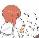 2girls akiyama_yukari brown_hair cellphone girls_und_panzer hazuki_haru highres long_sleeves multiple_girls nishizumi_miho ooarai_school_uniform phone school_uniform short_hair smartphone