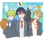 3boys :d ;d ahoge arm_up bangs beamed_eighth_notes blazer blush closed_mouth copyright_name eighth_note eyebrows_visible_through_hair fushimi_gaku glasses green_eyes green_hair hair_between_eyes highres holding jacket jewelry kenmochi_touya kippu long_sleeves looking_at_viewer male_focus mole mole_under_eye multiple_boys musical_note necktie nijisanji one_eye_closed open_blazer open_clothes open_jacket open_mouth pendant school_uniform semi-rimless_eyewear shibuya_hajime signature smile spoken_musical_note under-rim_eyewear v