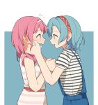 2girls bang_dream! blue_background blue_hair blush clenched_hand coldcat. commentary cowboy_shot dress ear_blush ears embarrassed eye_contact eyebrows_visible_through_hair face-to-face hands_on_another's_cheeks hands_on_another's_face headband highres hikawa_hina looking_at_another maruyama_aya medium_hair multiple_girls overalls pink_dress pink_hair profile red_headband short_hair short_sleeves side_braids simple_background striped striped_dress wavy_mouth white_dress white_headband yuri