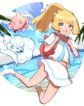 1girl :d alolan_form alolan_vulpix bag bangs blonde_hair blush clefairy clouds commentary_request day eyebrows_visible_through_hair gen_1_pokemon gen_7_pokemon green_eyes happy highres lillie_(pokemon) long_hair looking_at_viewer nuneno open_mouth pleated_skirt pokemon pokemon_(anime) pokemon_(creature) pokemon_sm_(anime) ponytail red_bag shiny shiny_hair shirt short_sleeves skirt sky smile socks summer water white_footwear white_legwear white_shirt white_skirt