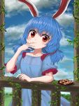 1girl animal_ears arm_rest arm_up blue_dress blue_hair blue_sky clouds collarbone dango day dress eyebrows_visible_through_hair food hand_on_own_face head_tilt highres holding_skewer ivy kayon_(touzoku) light_blush looking_at_viewer low_twintails outdoors plate puffy_short_sleeves puffy_sleeves rabbit_ears railing red_eyes seiran_(touhou) short_hair short_sleeves sky smile solo symbol_commentary touhou twintails wagashi