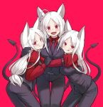 3girls alphy animal_ears ass belt black_belt black_gloves black_pants black_vest cerberus_(helltaker) closed_mouth commentary cowboy_shot demon_girl demon_tail dog_ears dog_girl fang fang_out fangs gloves helltaker highres long_hair looking_at_viewer looking_back multiple_girls necktie open_mouth pants red_background red_eyes red_shirt shirt simple_background smile symbol_commentary tail tongue tongue_out triplets vest white_hair