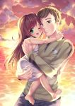 1boy 1girl age_difference bare_arms bare_shoulders blush carrying clouds cloudy_sky copyright_request cuddling eyebrows_visible_through_hair gorudazo green_eyes highres long_hair looking_at_viewer ocean open_mouth sky smile sun sunlight sunset
