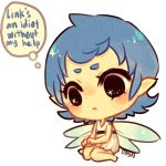 1girl artist_name black_eyes blue_hair blush_stickers dress fairy fairy_wings medium_hair navi onisuu pointy_ears seiza sitting solo sparkling_eyes tagme the_legend_of_zelda the_legend_of_zelda:_ocarina_of_time thinking thought_bubble white_background white_dress wings