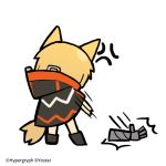 1girl anger_vein angry animal_ears arknights black_cloak black_footwear blonde_hair chibi cloak commentary_request company_name fox_ears fox_tail from_behind full_body gauntlets gloves line_(naver) motion_lines official_art shoes simple_background single_gauntlet single_glove solo standing tail throwing watermark white_background