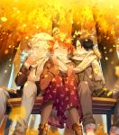 1girl 2boys ahoge autumn autumn_leaves bangs bench black_hair blue_eyes blush boots brown_footwear brown_jacket closed_eyes commentary_request day emma_(yakusoku_no_neverland) facing_viewer from_below grey_eyes grey_legwear grey_pants hair_over_one_eye highres holding holding_scarf jacket leaf long_sleeves looking_at_another multiple_boys norman_(yakusoku_no_neverland) one_eye_closed open_clothes open_mouth orange_hair outdoors pants pantyhose purple_skirt ray_(yakusoku_no_neverland) scarf shared_scarf shirt short_hair sitting skirt smile teeth thick_eyebrows tree white_hair white_scarf yakusoku_no_neverland yala1453