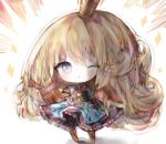1girl ;o armor armored_boots armored_dress bangs black_gloves blonde_hair blue_dress blue_eyes blush boots charlotta_fenia chibi cottontailtokki crown dress emphasis_lines eyebrows_visible_through_hair fingerless_gloves frilled_dress frills gloves granblue_fantasy harvin long_hair looking_at_viewer mini_crown one_eye_closed outstretched_arm parted_lips pointy_ears puffy_short_sleeves puffy_sleeves shadow short_sleeves solo sparkle standing very_long_hair white_background