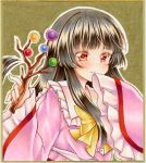 1girl bangs black_hair blunt_bangs blush bow branch commentary_request eyebrows_visible_through_hair graphite_(medium) hair_between_eyes highres holding_branch houraisan_kaguya jeweled_branch_of_hourai long_hair long_sleeves looking_at_viewer marker_(medium) nekofish666 pink_shirt portrait red_eyes shirt sidelocks sleeves_past_wrists smile solo touhou traditional_media yellow_bow
