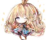 1girl ;o armor armored_boots armored_dress bangs black_gloves blonde_hair blue_dress blue_eyes blush boots charlotta_fenia chibi commentary_request cottontailtokki crown dress eyebrows_visible_through_hair fingerless_gloves frilled_dress frills gloves granblue_fantasy harvin long_hair looking_at_viewer mini_crown one_eye_closed outstretched_arm parted_lips pointy_ears puffy_short_sleeves puffy_sleeves shadow short_sleeves solo sparkle standing very_long_hair white_background