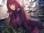 1girl ass backlighting bangs bodysuit breasts fate/grand_order fate_(series) large_breasts leaning_forward long_hair looking_at_viewer neee-t open_mouth outdoors pauldrons purple_bodysuit purple_hair red_eyes scathach_(fate)_(all) scathach_(fate/grand_order) shoulder_armor smile thighs tree