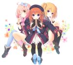 3girls ;q ahoge aono_ribbon bangs black_coat black_legwear blonde_hair blue_bow blue_flower blue_legwear blush book boots bow brown_flower brown_footwear brown_hair candy chieru_(princess_connect!) chloe_(princess_connect!) closed_mouth coat collared_shirt commentary_request dress eyebrows_visible_through_hair flower food green_neckwear grey_shirt hair_between_eyes hair_bow hair_ornament hair_over_shoulder hand_up holding holding_book holding_food holding_lollipop hood hood_down hooded_coat kneehighs loafers lollipop long_hair long_sleeves multiple_girls necktie one_eye_closed open_book open_clothes open_coat pantyhose pink_bow pink_hair pink_legwear plaid plaid_skirt pleated_skirt pointy_ears princess_connect! princess_connect!_re:dive purple_flower red_flower red_skirt ribbed_legwear shirt shoe_soles shoes sidelocks single_sock single_thighhigh skirt smile socks star_(symbol) star_hair_ornament star_in_eye symbol_in_eye thigh-highs tongue tongue_out twintails twitter_username violet_eyes w white_background white_dress yellow_flower yuni_(princess_connect!)