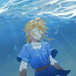 1boy air_bubble blonde_hair blue_tunic bubble closed_eyes day link long_sleeves male_focus pointy_ears solo the_legend_of_zelda the_legend_of_zelda:_breath_of_the_wild underwater xian_yadan
